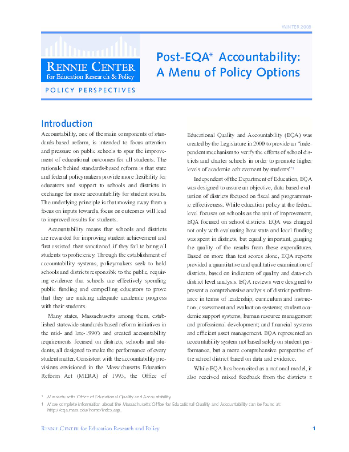 Post-EQA Accountability: A Menu of Policy Options