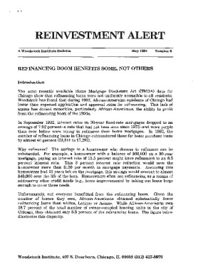 Reinvestment Alert #6: Refinancing Boom Benefits Some, Not Others