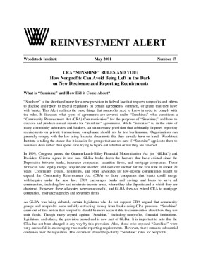 Reinvestment Alert 17: CRA Sunshine Rules and You: How Nonprofits Can Avoid Being Left in the Dark