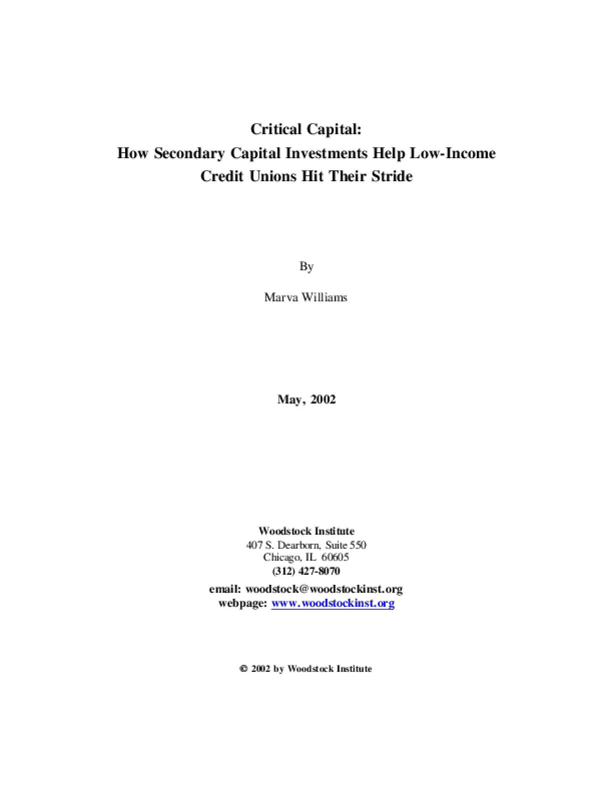 Critical Capital: How Secondary Capital Investments Help Low-Income Credit Unions Hit Their Stride
