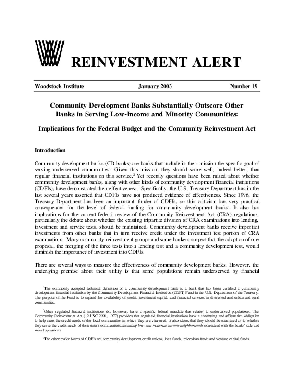Reinvestment Alert 19: Community Development Banks Substantially Outscore Other Banks in Serving Low-Income and Minority Communities