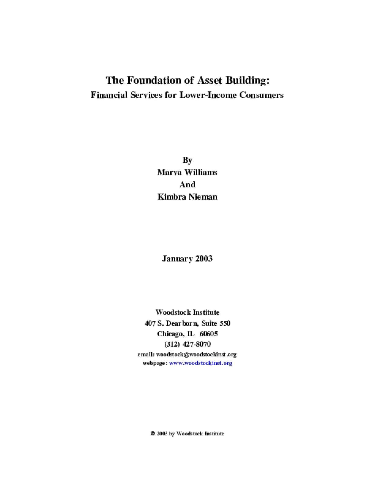 The Foundation of Asset Building: Financial Services for Lower-Income Consumers