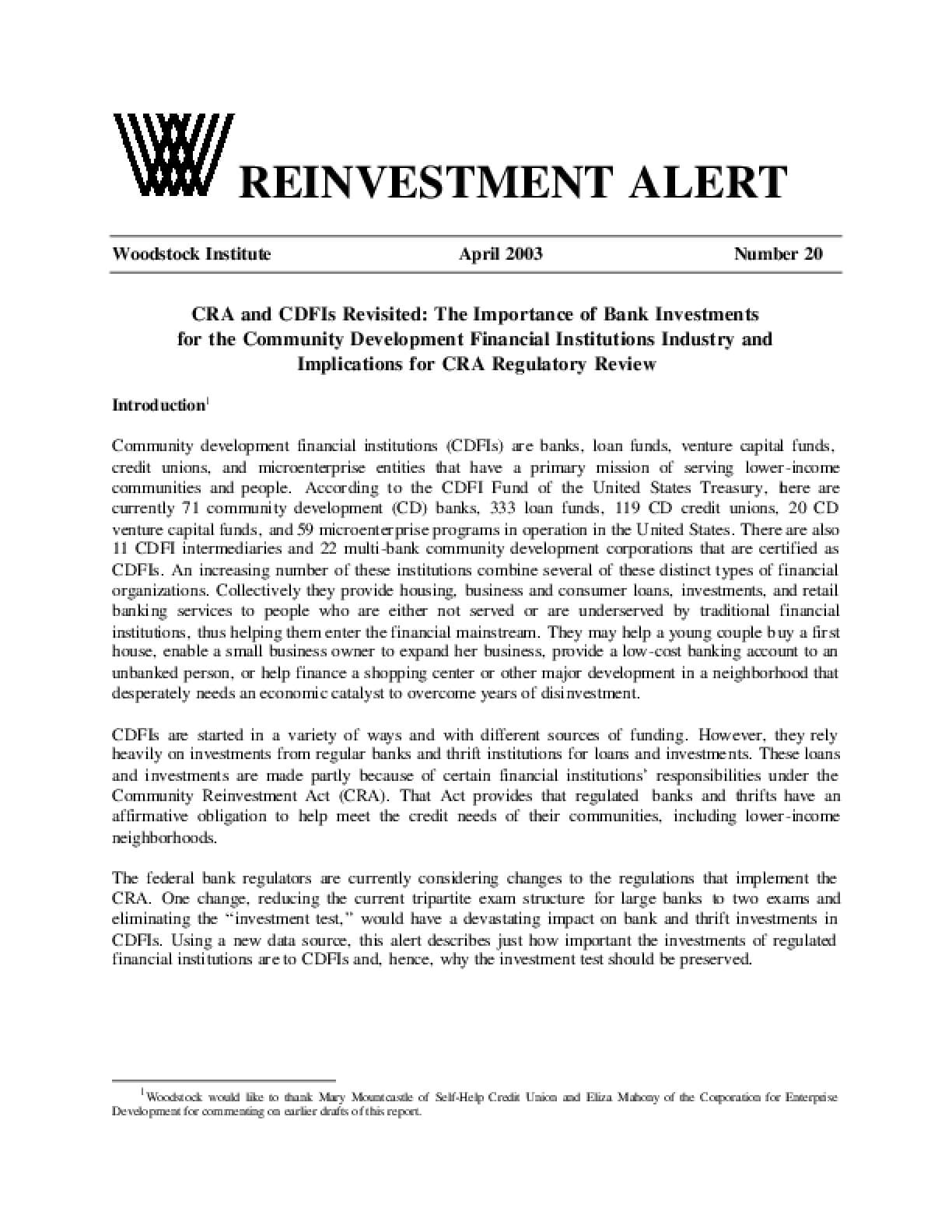 Reinvestment Alert 20: CRA and CDFIs Revisitied:The