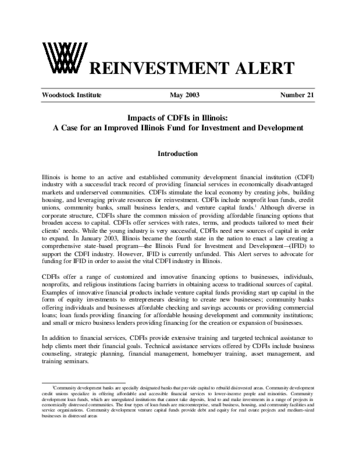 Reinvestment Alert 21: Impacts of CDFIs in Illinois: A Case for an