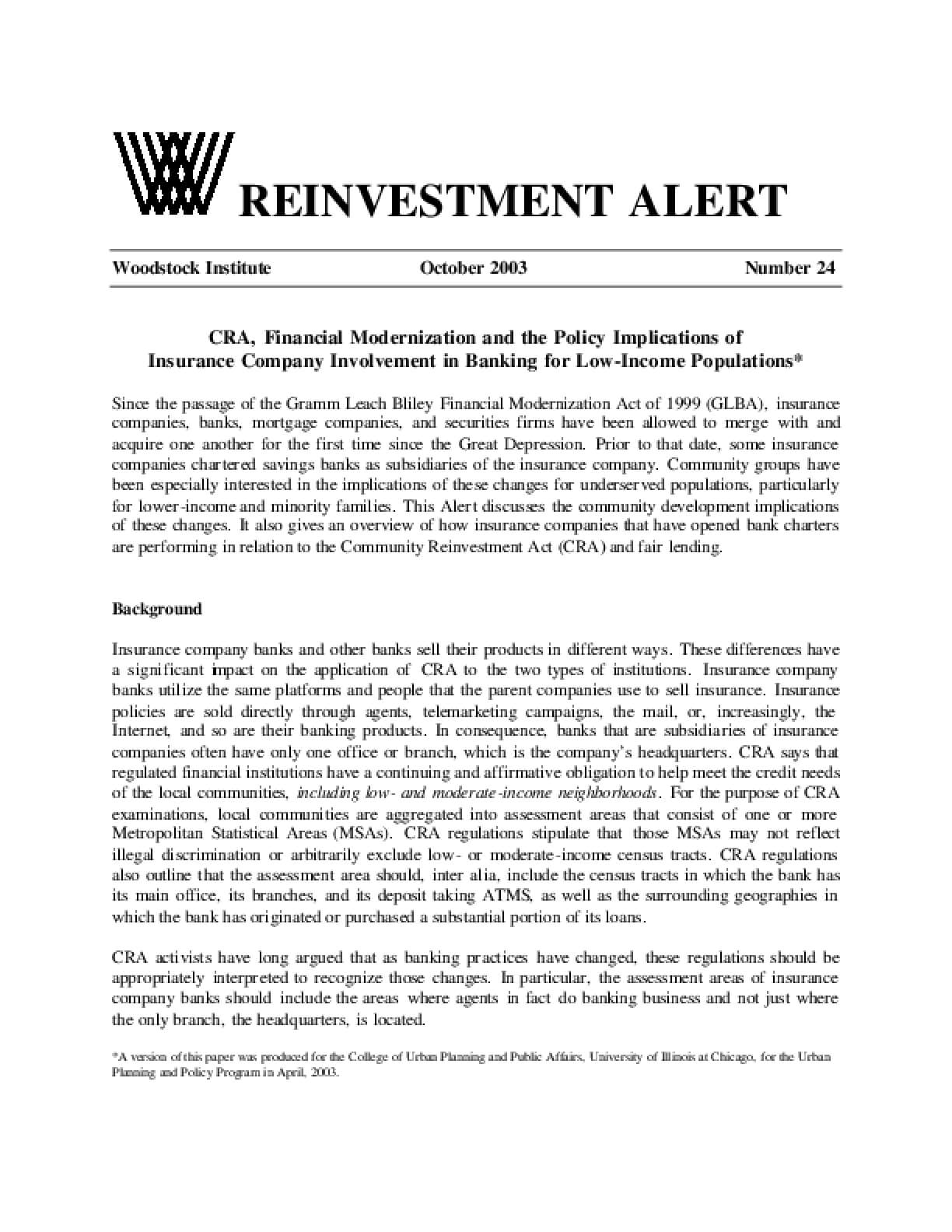 Reinvestment Alert 24: CRA, Financial Modernization and the Policy Implications of Insurance Company