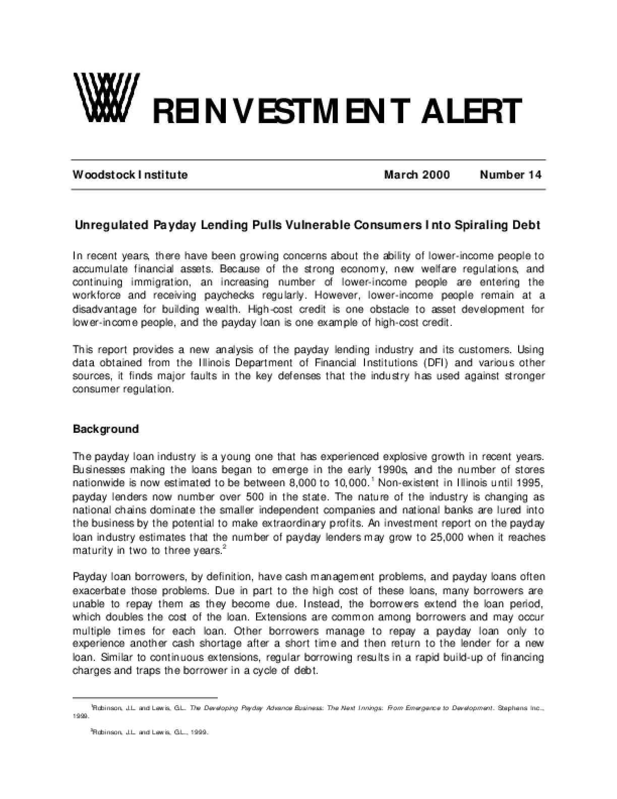 Reinvestment Alert 14:  Unregulated Payday Lending Pulls Vulnerable Consumers Into Spiraling Debt
