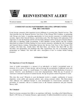 Reinvestment Alert 15:  Community-Bank Partnerships Creating Opportunities for the Unbanked
