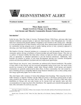 Reinvestment Alert 22:  Where Banks Aren't