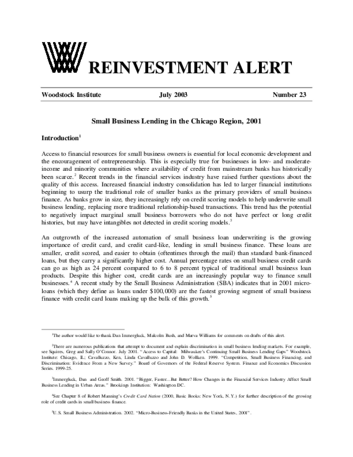Reinvestment Alert 23:  Small Business Lending in the Chicago Region