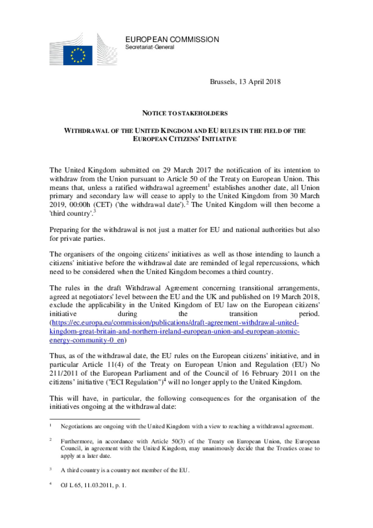 WITHDRAWAL OF THE UNITED KINGDOM AND EU RULES IN THE FIELD OF THE EUROPEAN CITIZENS' INITIATIVE