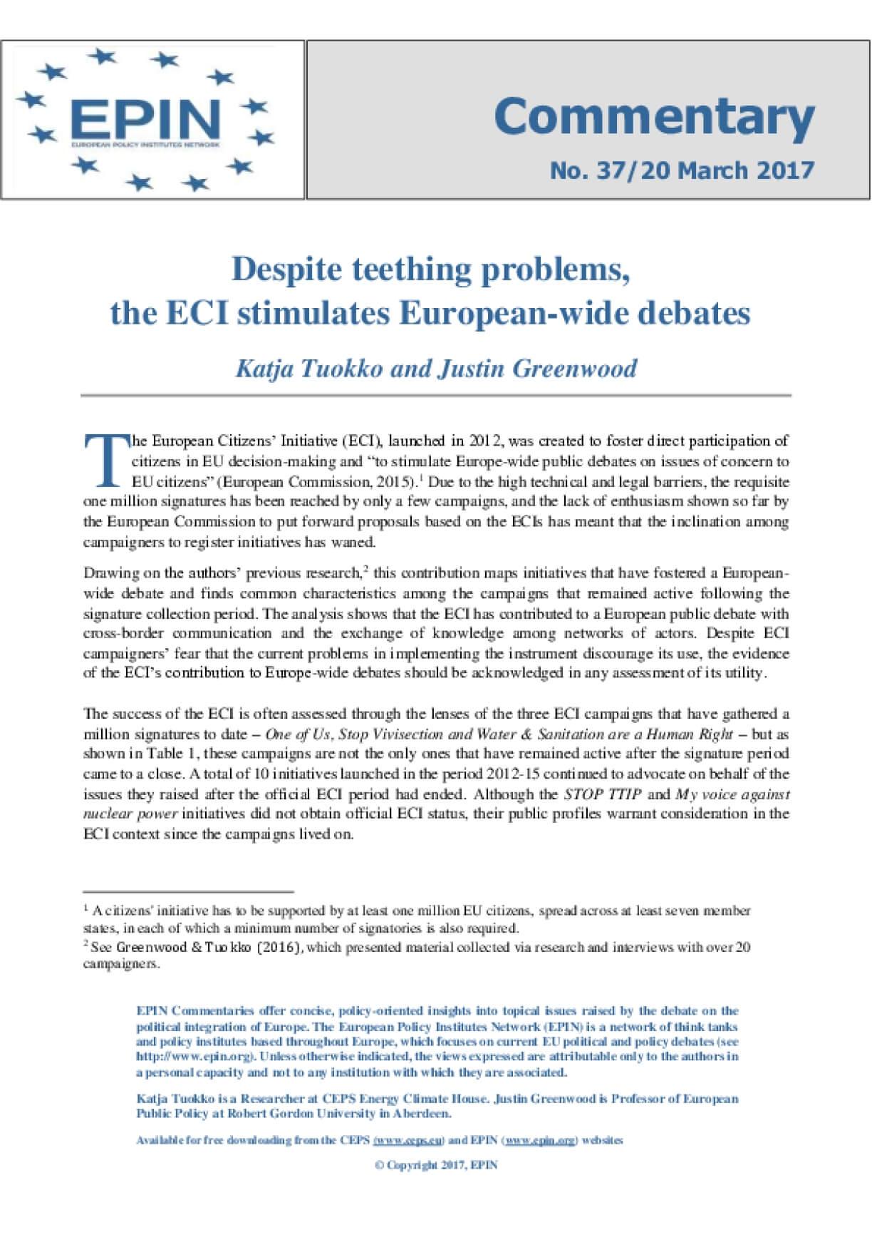 Despite teething problems, the ECI stimulates European-wide debates