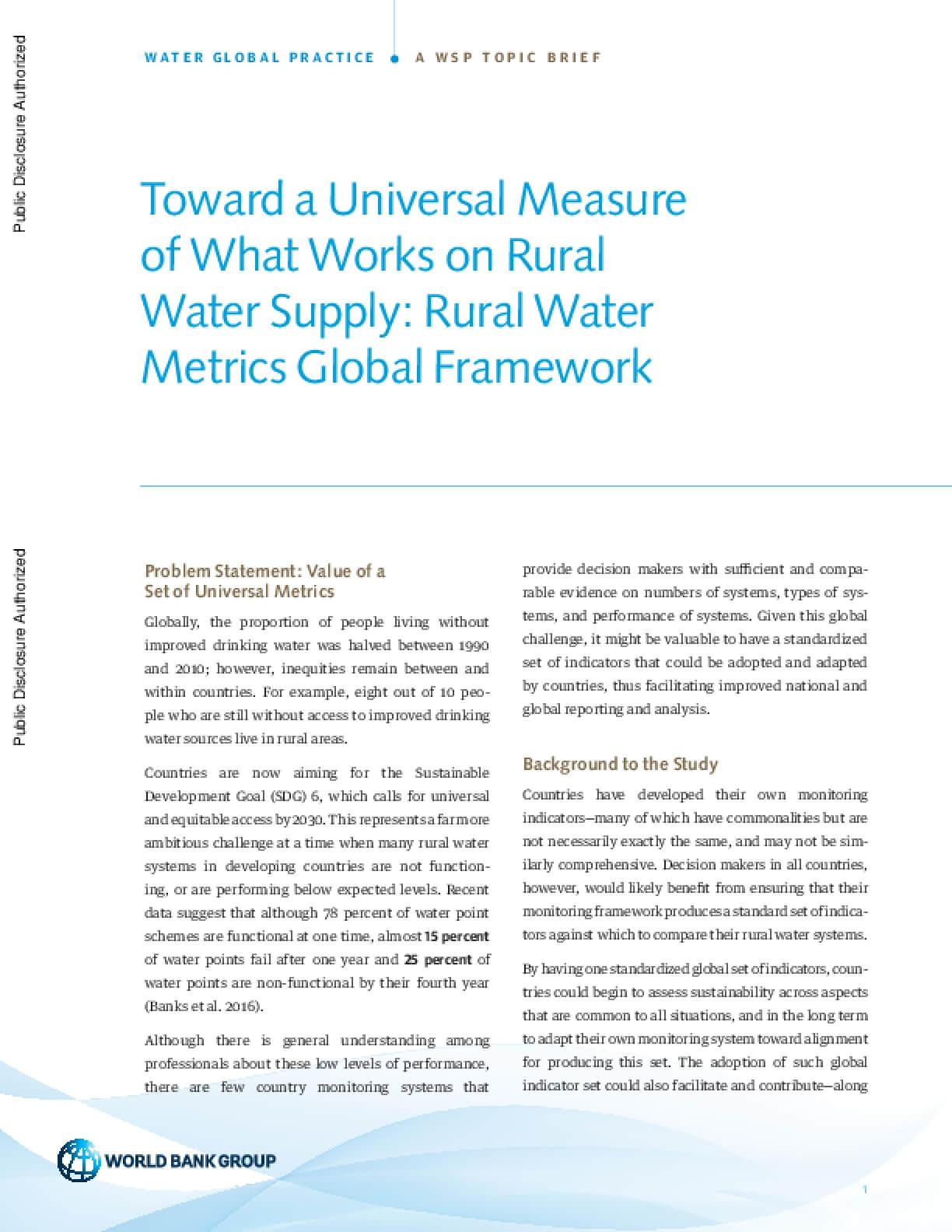 Toward a Universal Measure of What Works on Rural Water Supply: Rural Water Metrics Global Framework