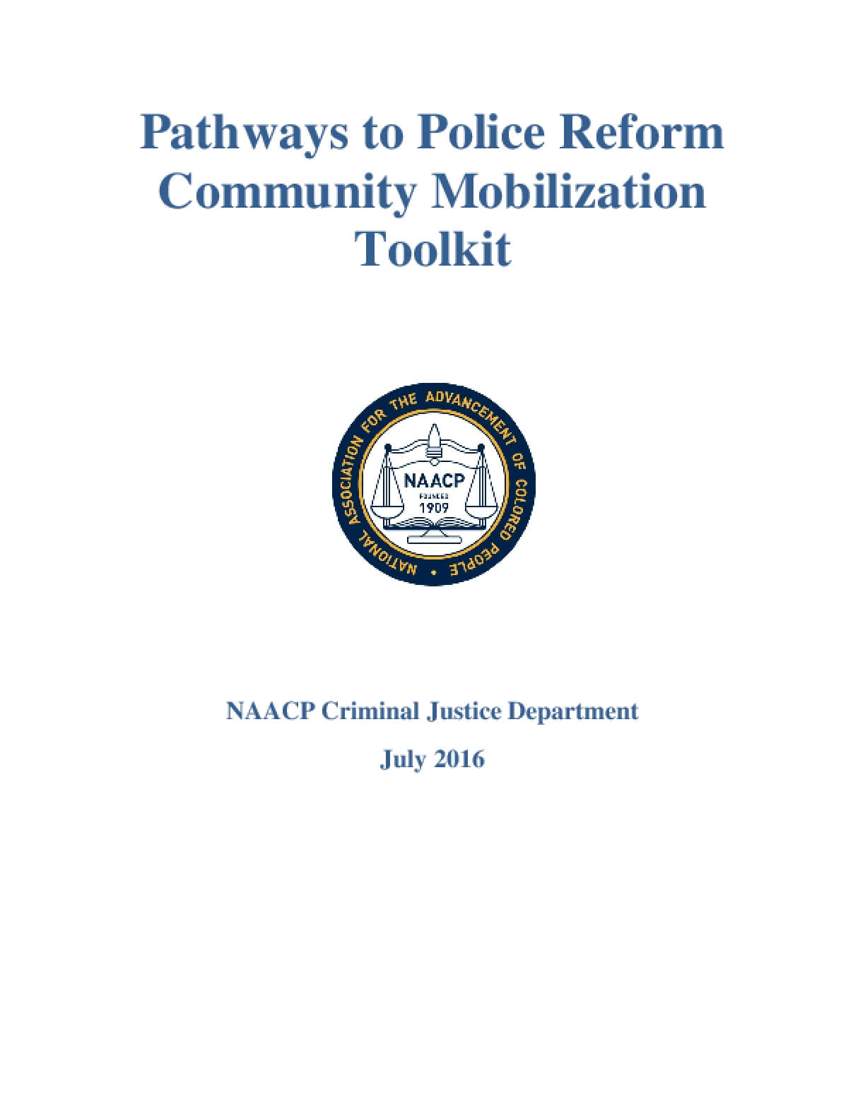 Pathways to Police Reform  Community Mobilization  Toolkit