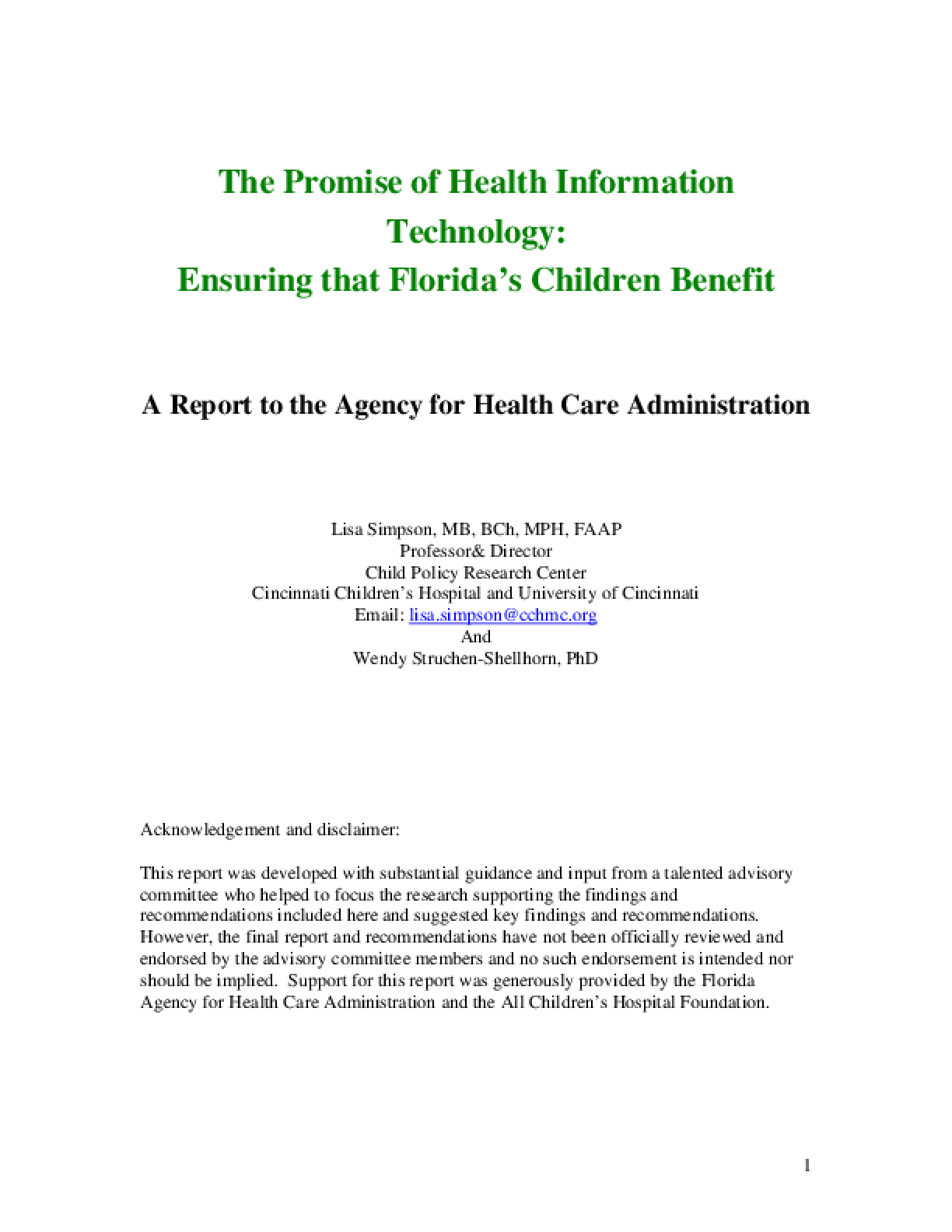The Promise of Health Information Technology: Ensuring that Florida's Children Benefit