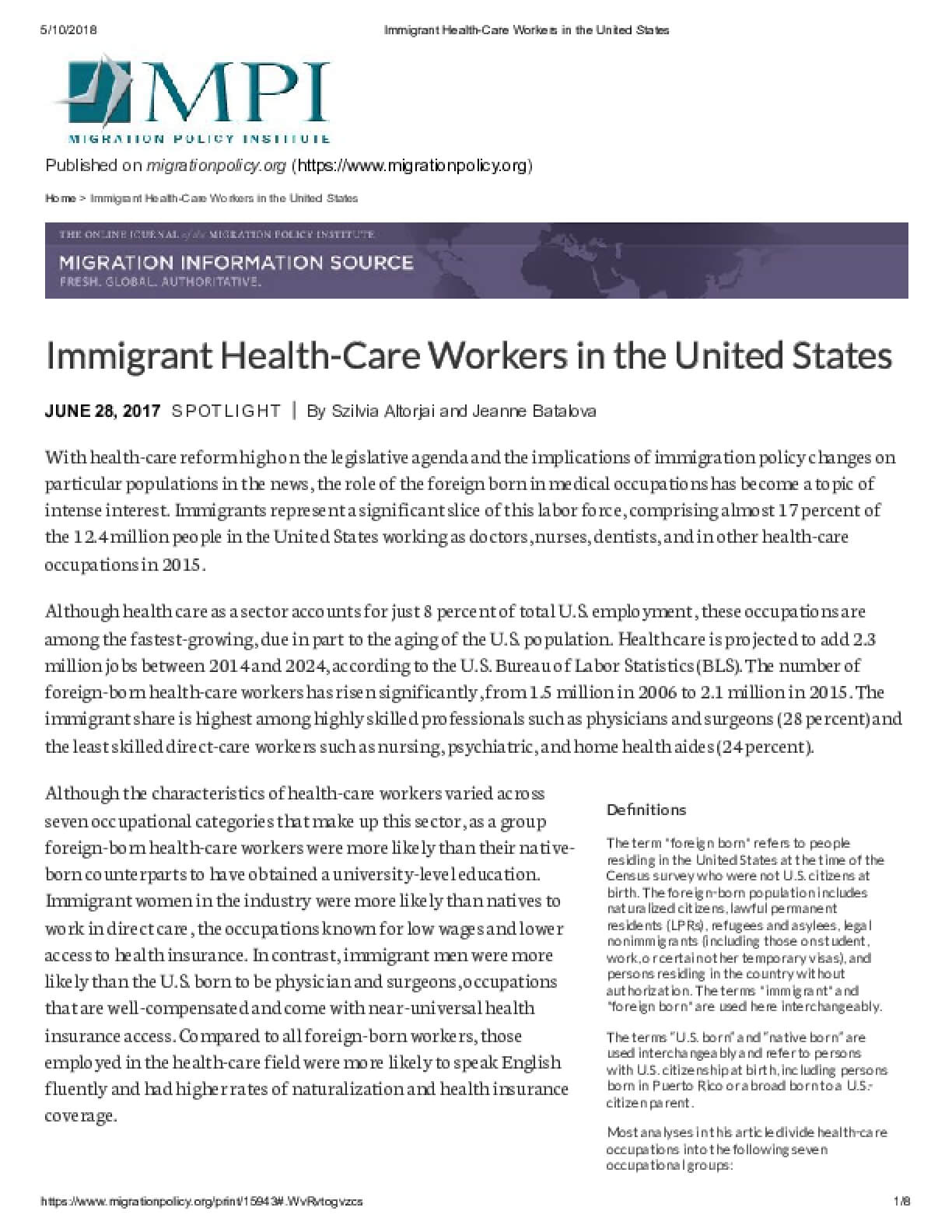 Immigrant Health-Care Workers in the United States