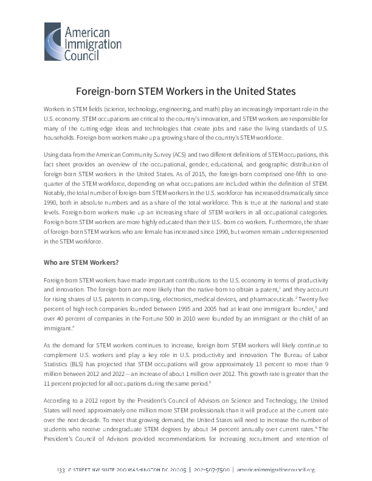 Foreign-born STEM Workers in the United States