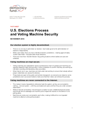 Fact Sheet: U.S. Elections Process and Voting Machine Security