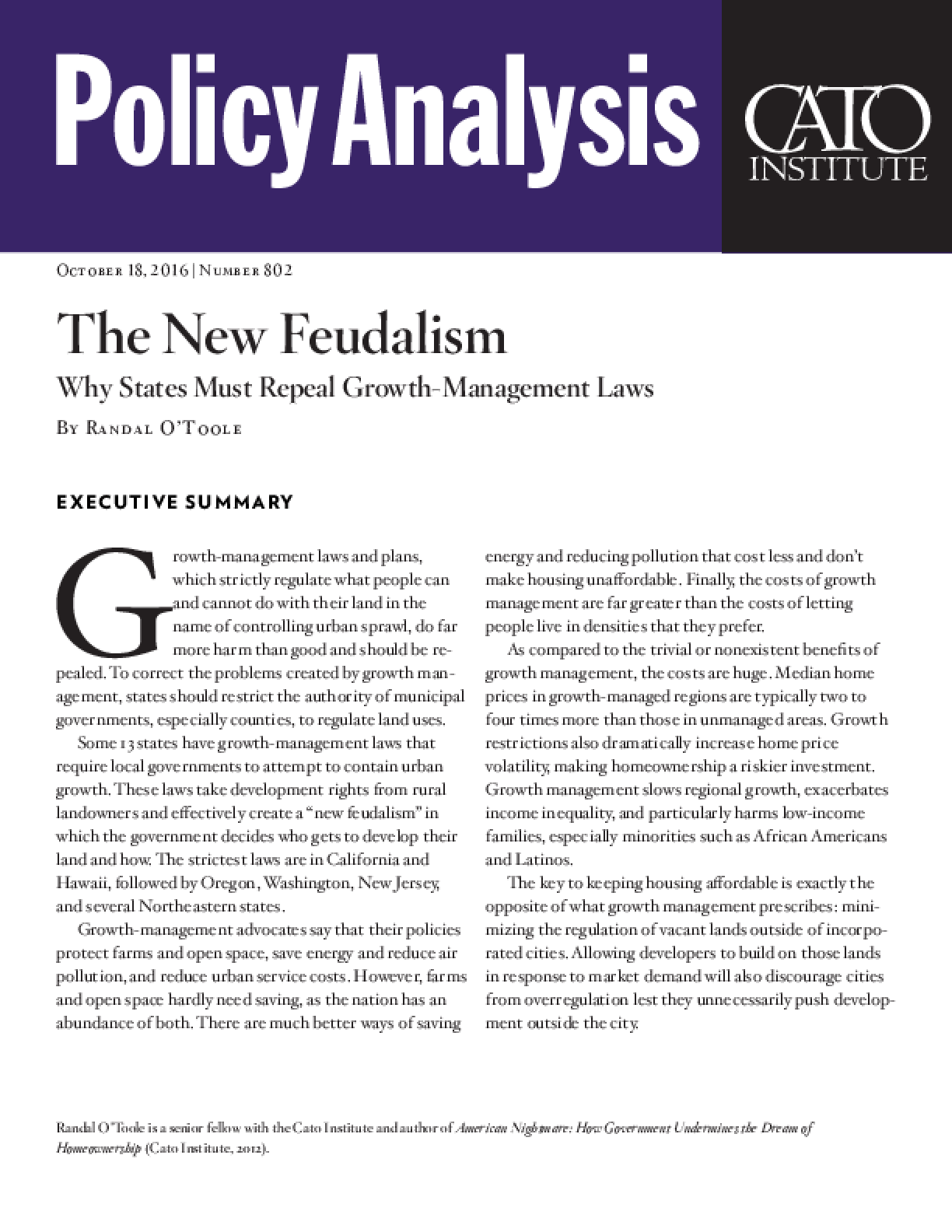 The New Feudalism: Why States Must Repeal Growth-Management Laws