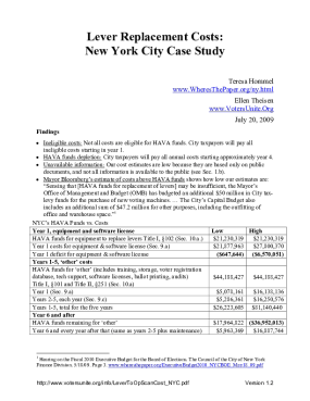 Lever Replacement Costs: New York City Case Study