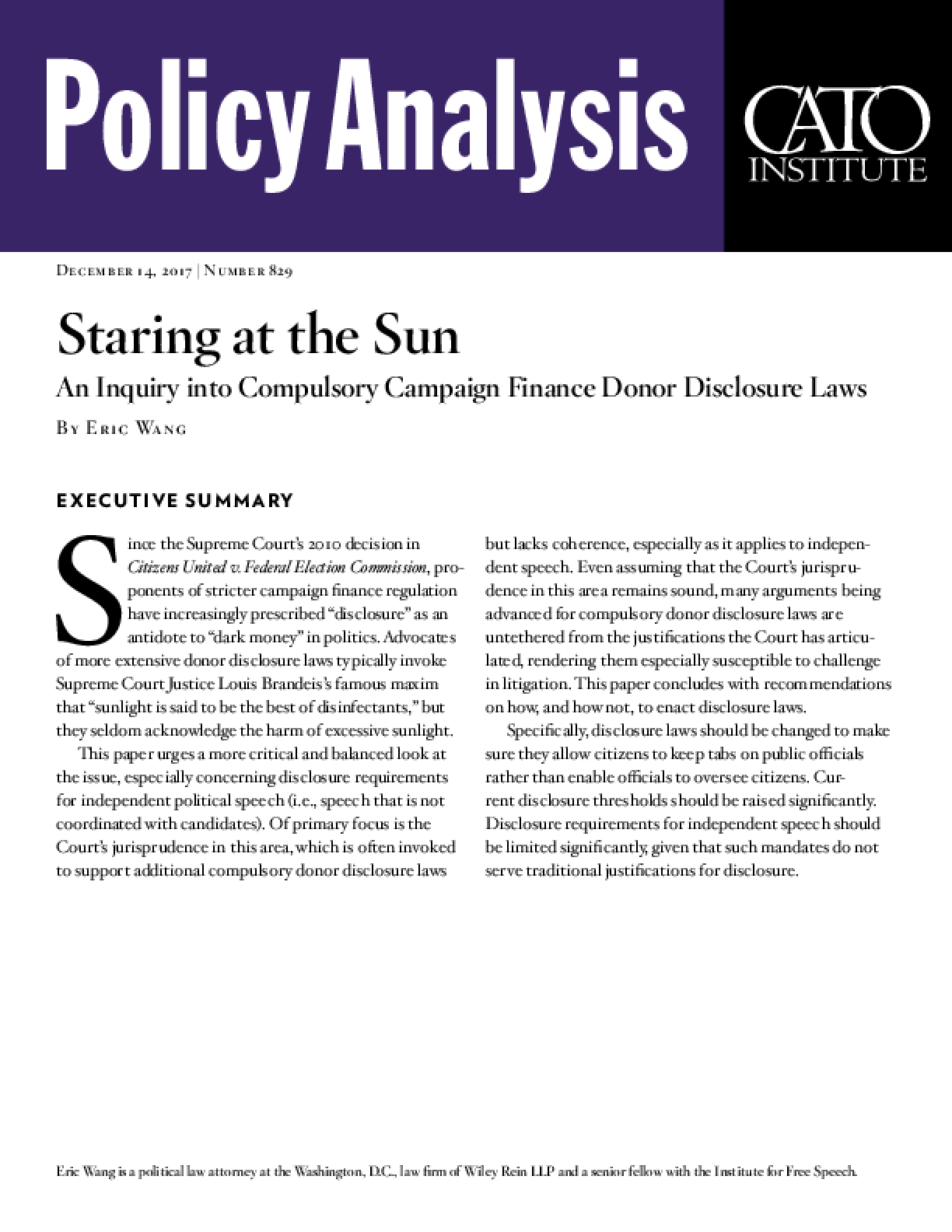Staring at the Sun: An Inquiry into Compulsory Campaign Finance Donor Disclosure Laws