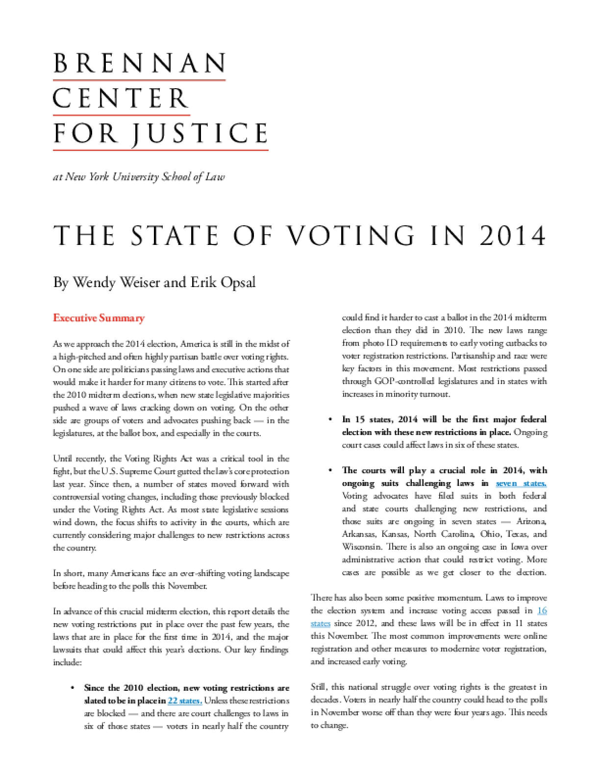 The State of Voting in 2014