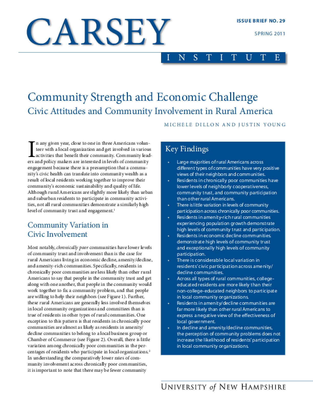 Community Strength and Economic Challenge Civic Attitudes and Community Involvement in Rural America