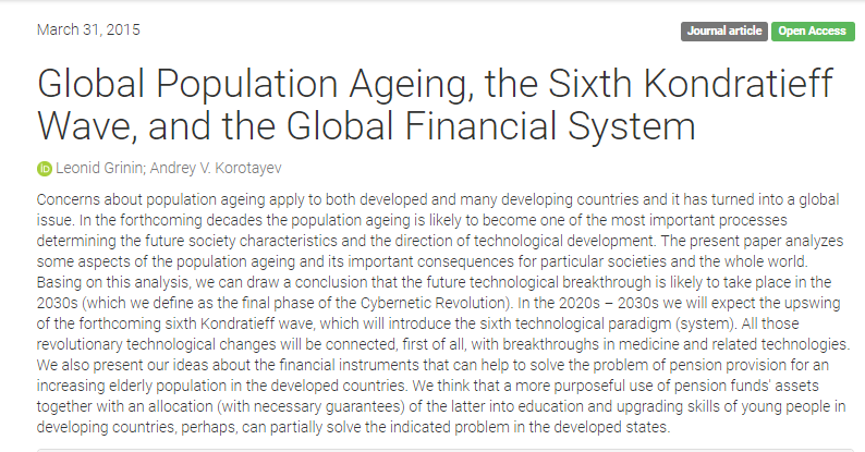 Global Population Ageing, the Sixth Kondratieff Wave, and the Global Financial System