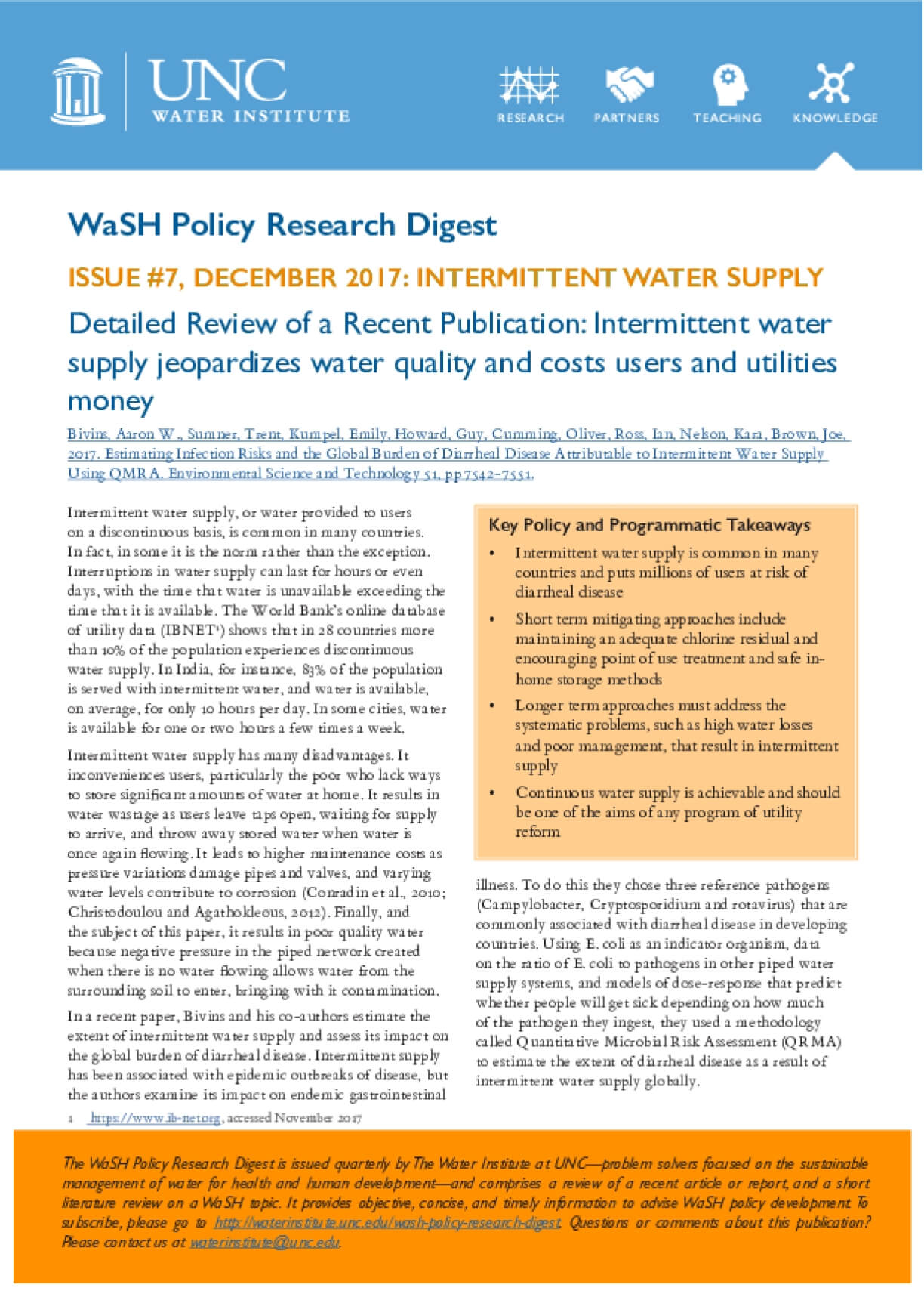 ISSUE #7, DECEMBER 2017: INTERMITTENT WATER SUPPLY