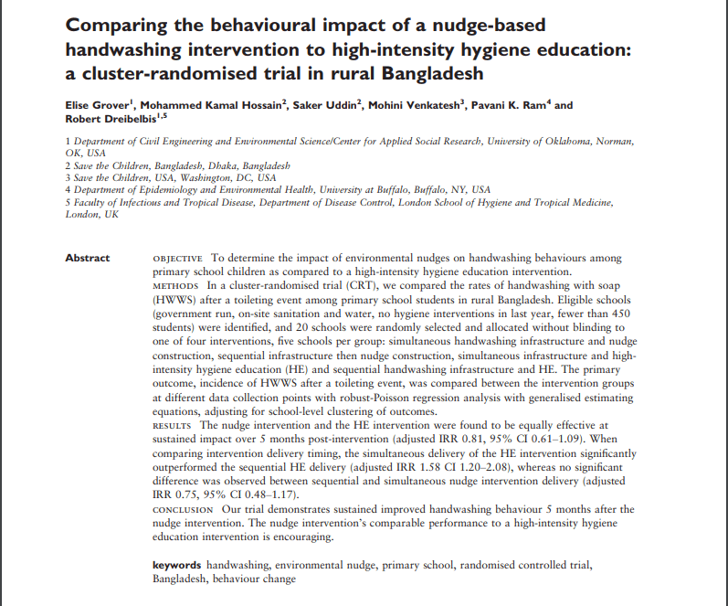 Comparing the behavioural impact of a nudge-based handwashing intervention to high-intensity hygiene education: a cluster-randomised trial in rural Bangladesh
