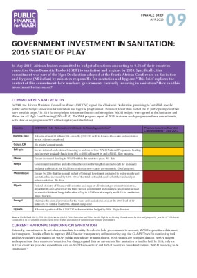 Government Investment in Sanitation