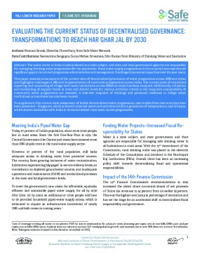 Evaluating the Current Status of Decentralised Governance: Transformations to Reach Har Ghar Jal by 2030