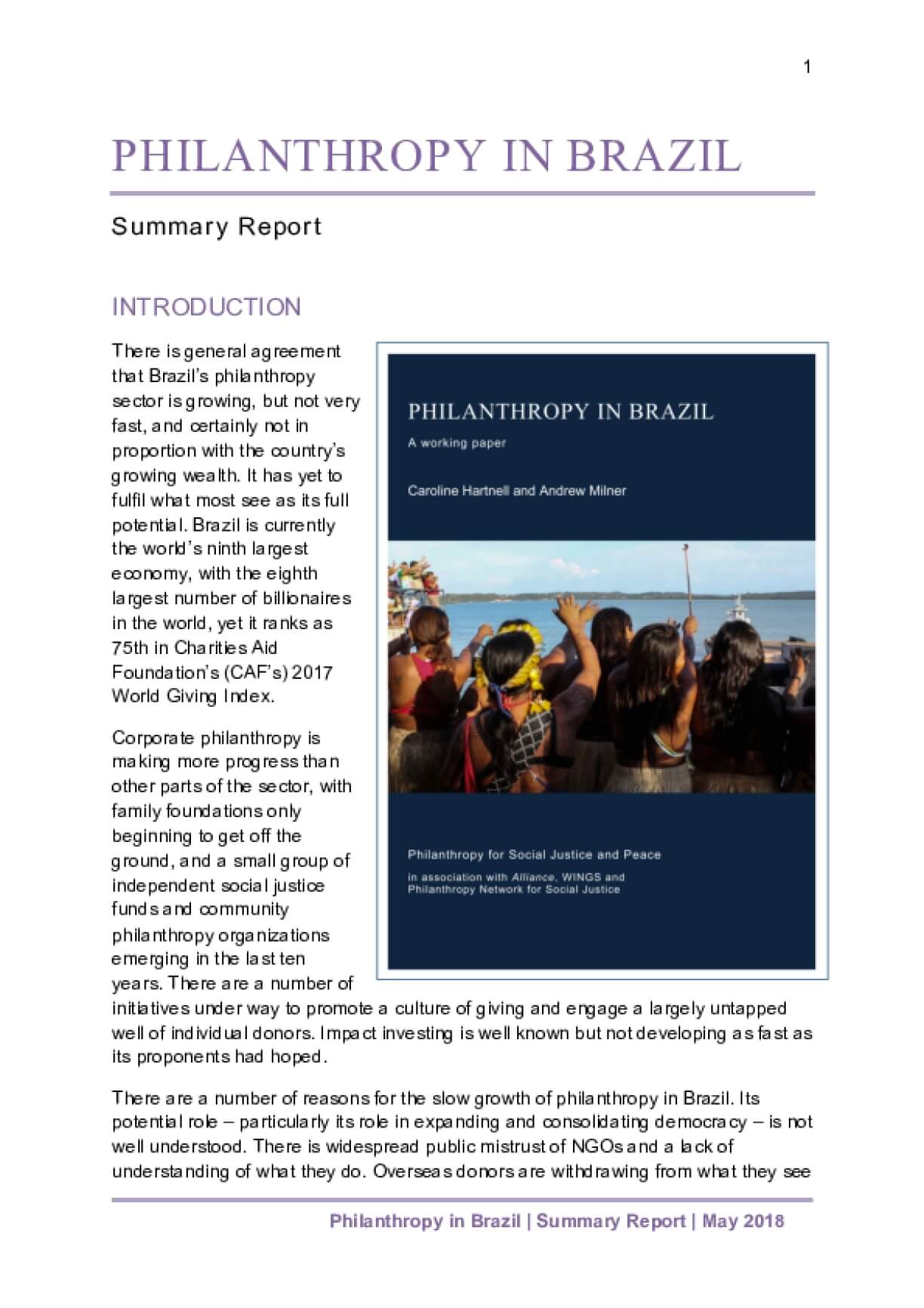 Philanthropy in Brazil - Summary in English