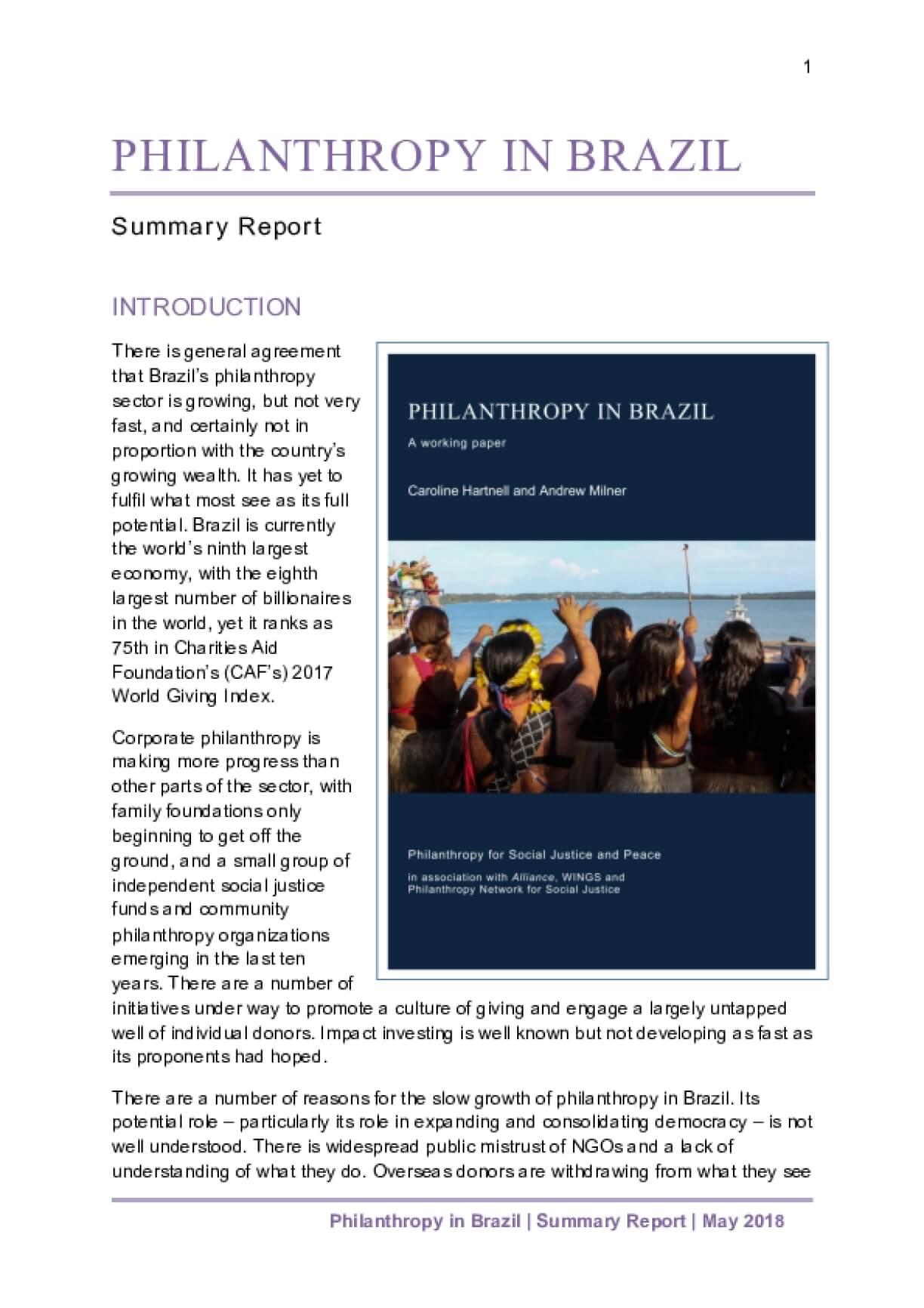 Philanthropy in Brazil - Summary in English