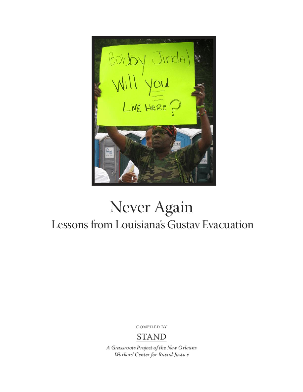 Never Again: Lessons from Louisiana's Gustav Evacuation