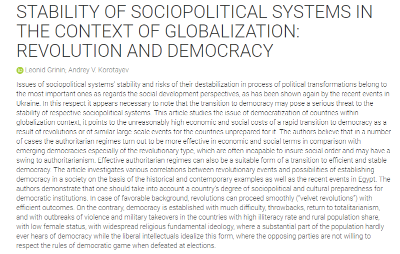 The Stability of Sociopolitical Systems in the Context of Globalisation: Revolution and Democracy