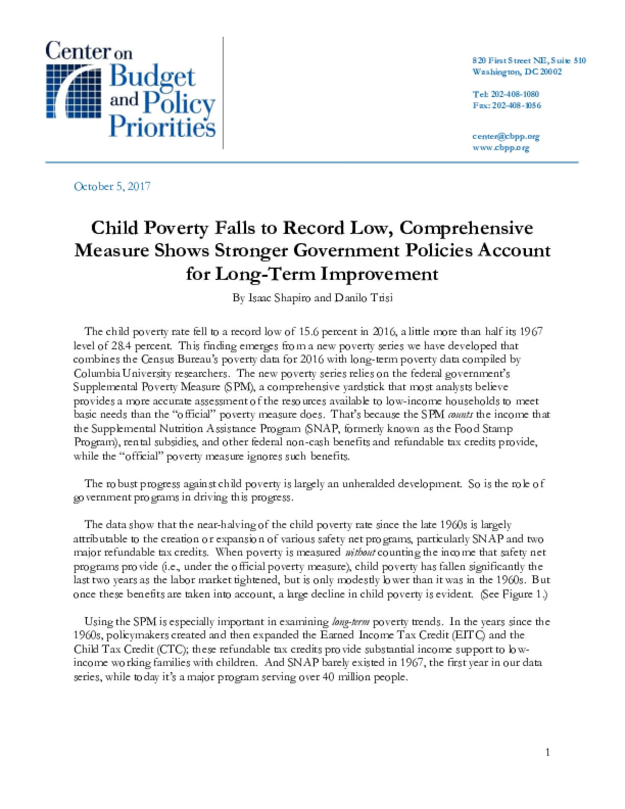 Child Poverty Falls to Record Low, Comprehensive Measure Shows Stronger Government Policies Account for Long-term Improvement