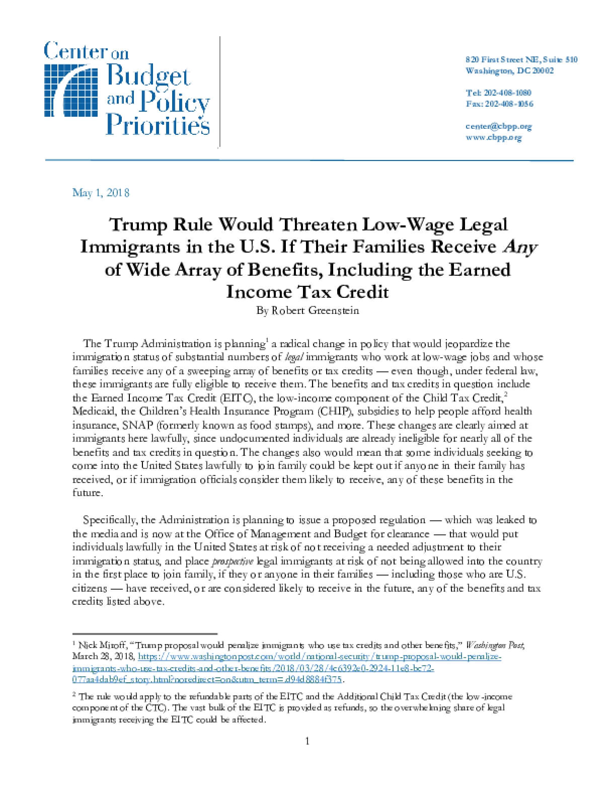 Trump Rule Would Threaten Low-Wage Legal Immigrants in the U.S. If Their Families Receive Any of Wide Array of Benefits, Including the Earned Income Tax Credit