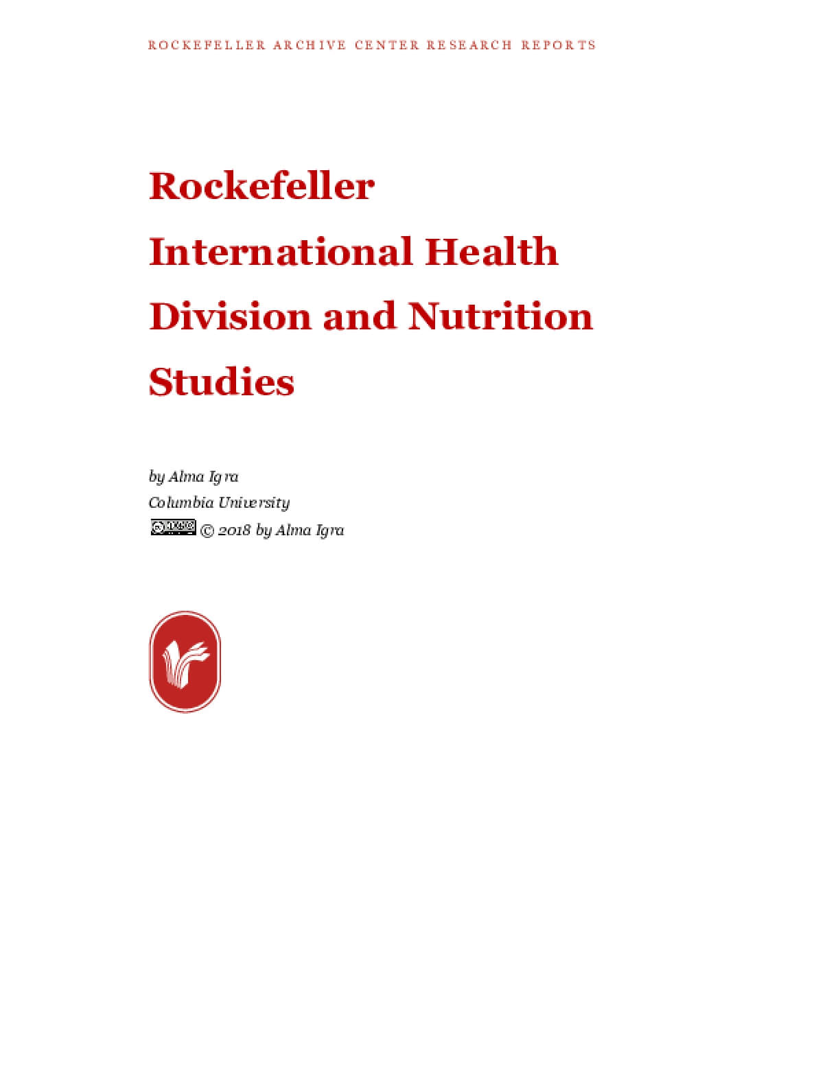 Rockefeller International Health Division and Nutrition Studies