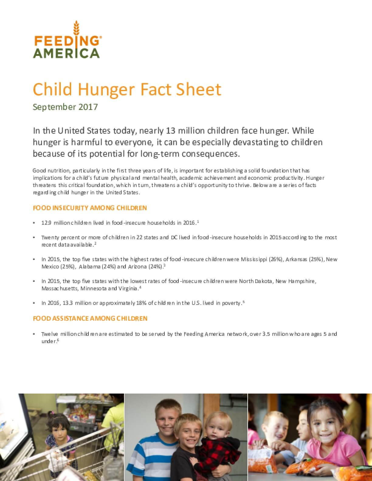 Child Hunger Fact Sheet