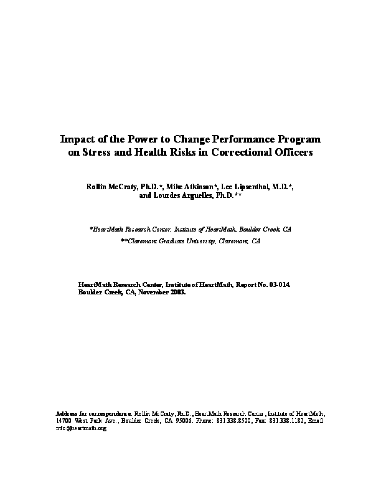 Impact of the Power to Change Performance Program on Stress and Health Risks in Correctional Officers