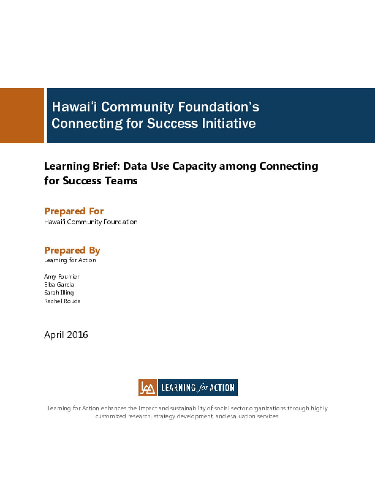 Learning Brief: Data Use Capacity among Connecting for Success Teams