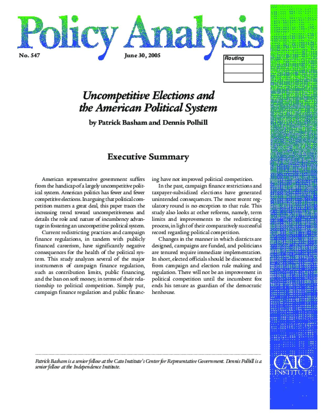 Uncompetitive Elections and the American Political System