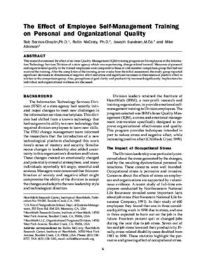 The Effect of Employee Self-Management Training on Personal and Organizational Quality
