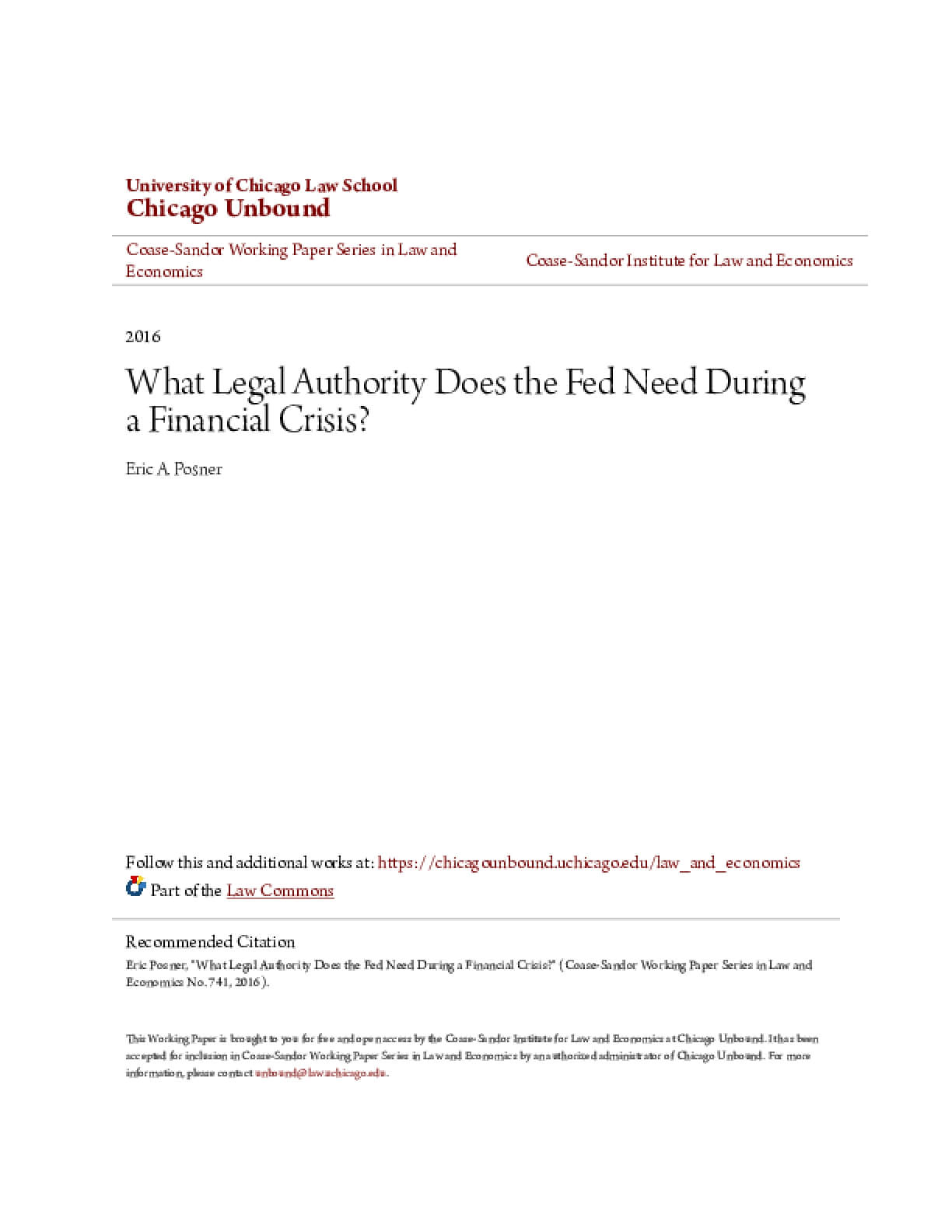 What Legal Authority Does the Fed Need During a Financial Crisis?