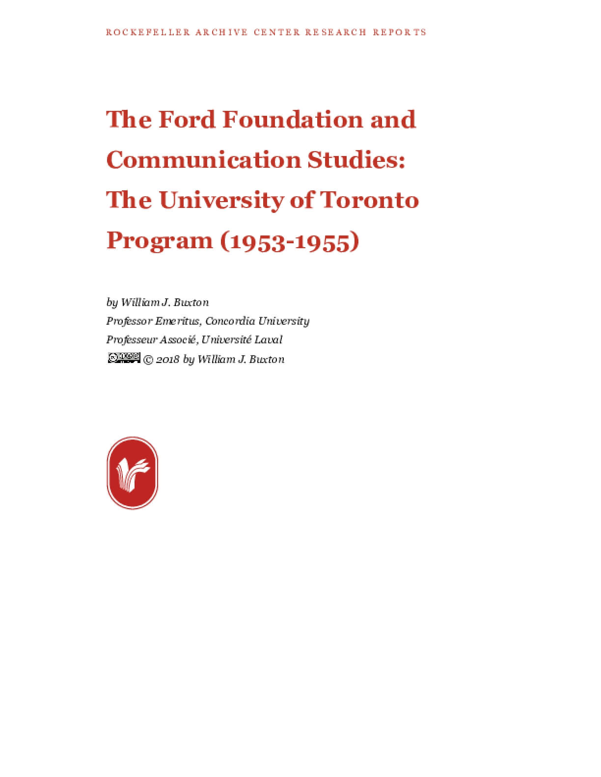 The Ford Foundation and Communication Studies: The University of Toronto Program (1953-1955)