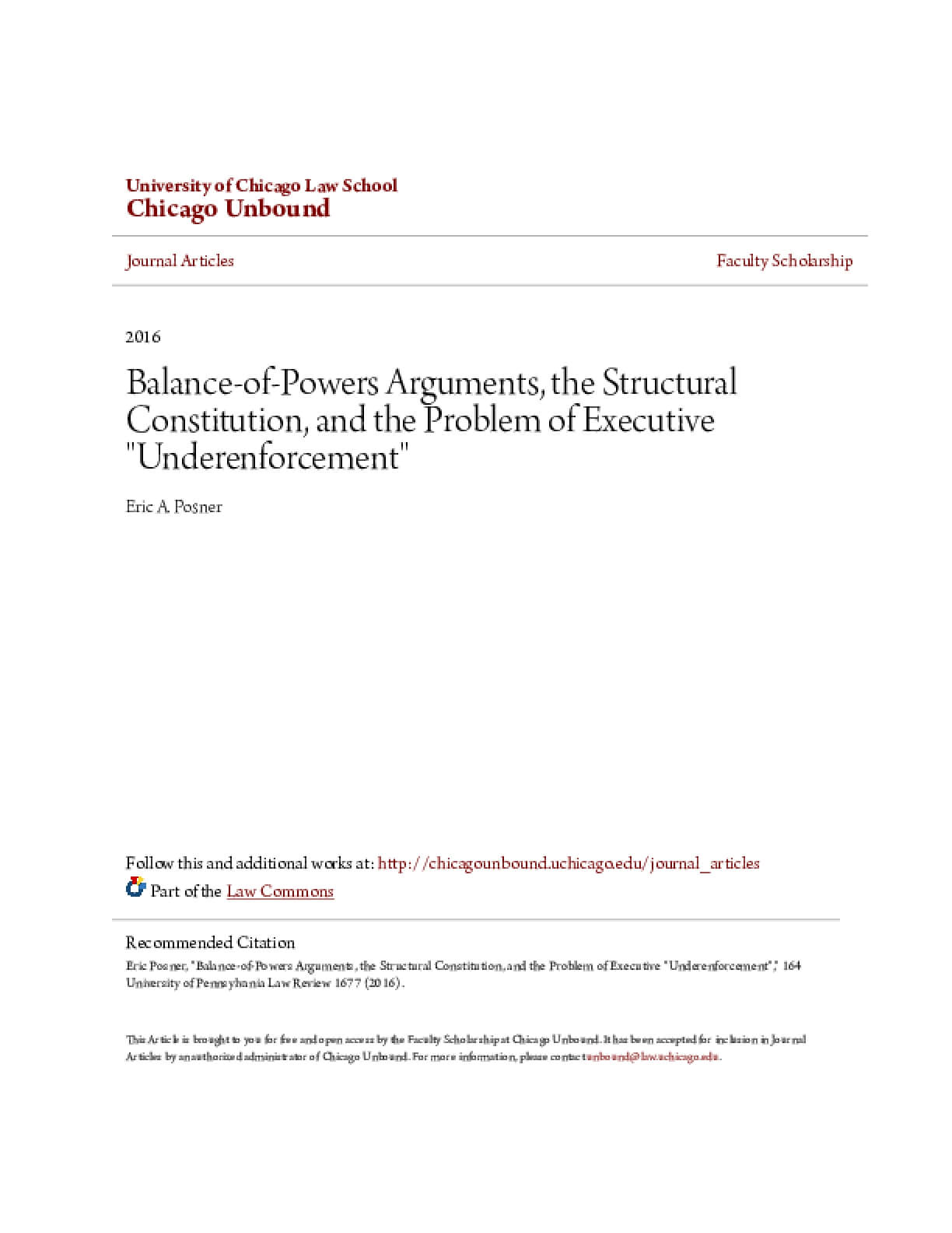 "Balance-of-Powers Arguments, the Structural Constitution, and the Problem of Executive ""Underenforcement"""