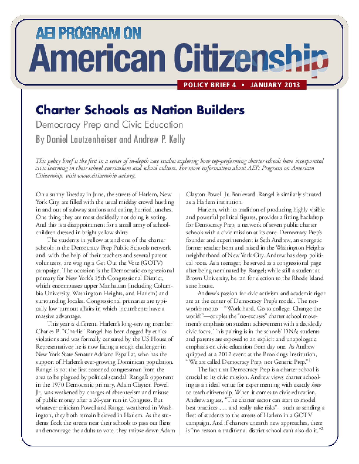 Charter Schools as Nation Builders: Democracy Prep and Civic Education