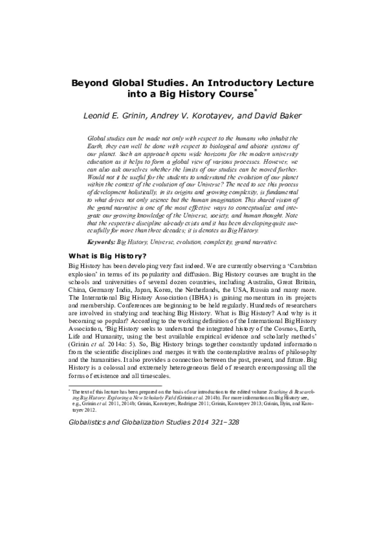 Beyond Global Studies. An Introductory Lecture into a Big History Course