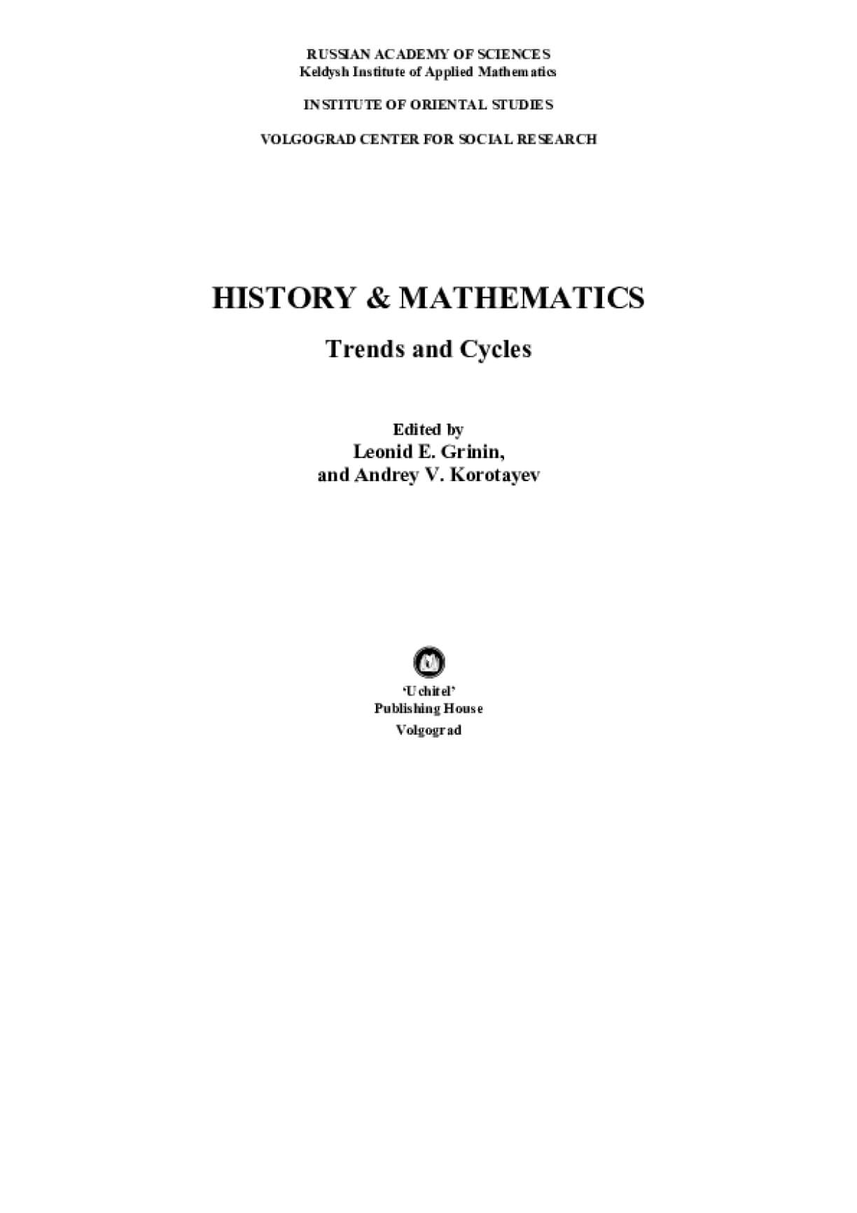 History & Mathematics: Trends and Cycles