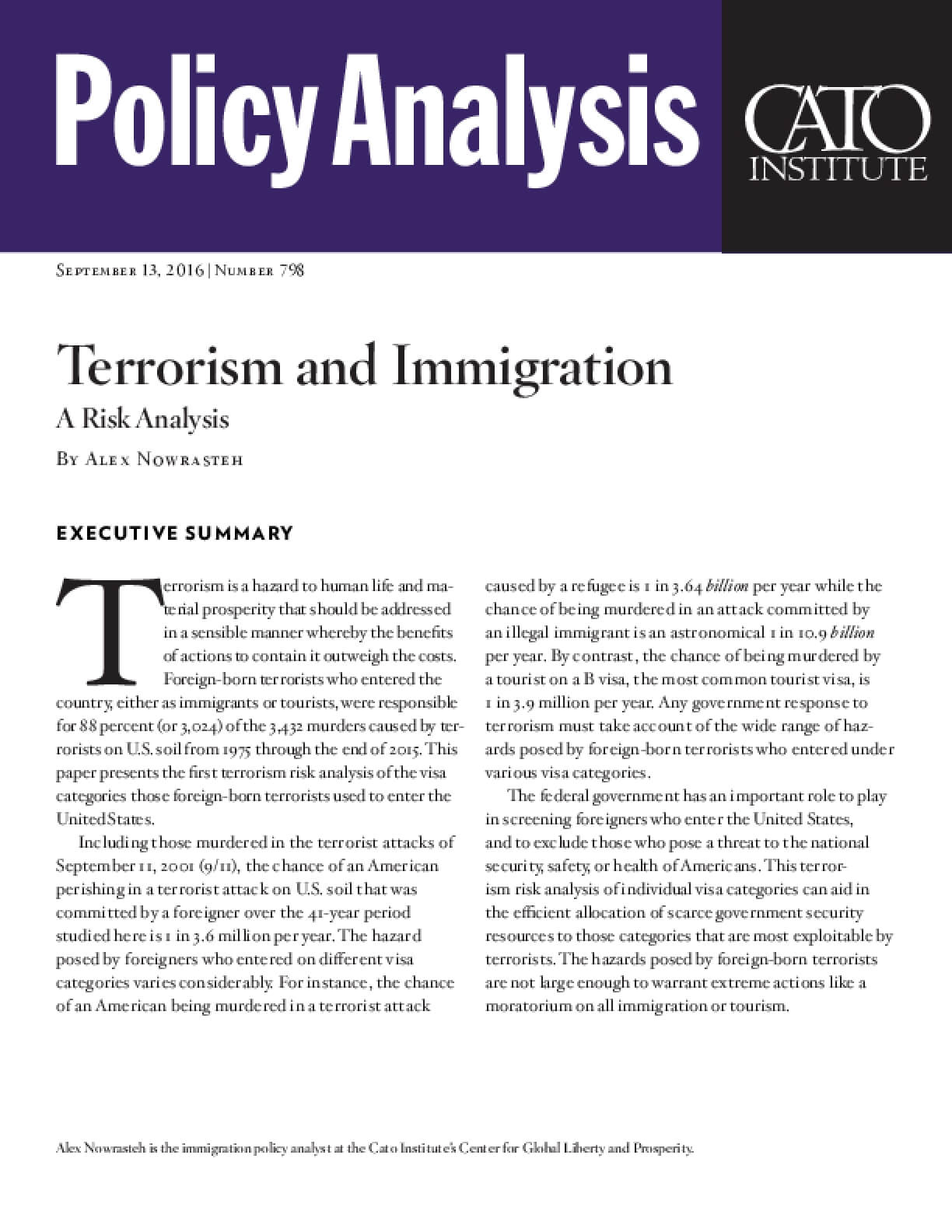 Terrorism and Immigration: A Risk Analysis